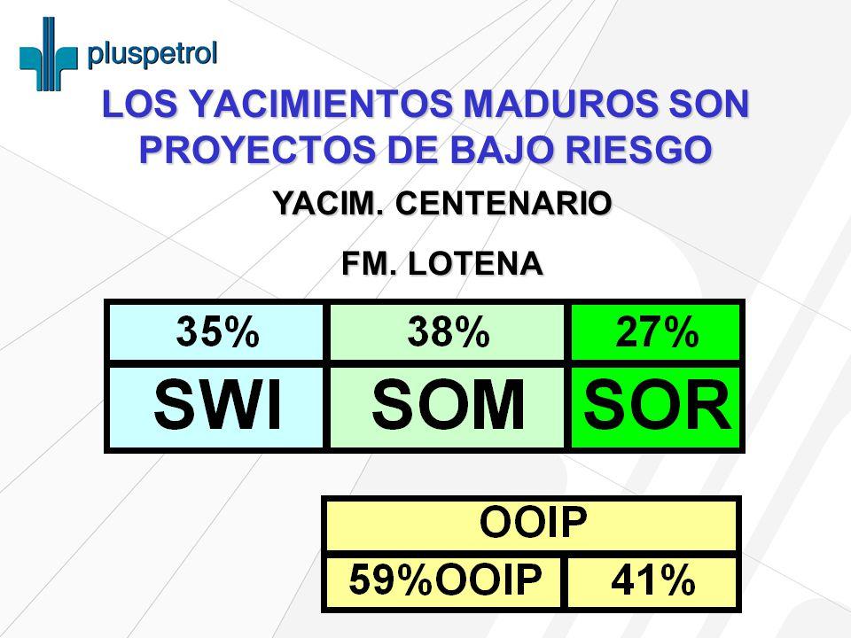LOS YACIMIENTOS MADUROS SON PROYECTOS DE BAJO RIESGO