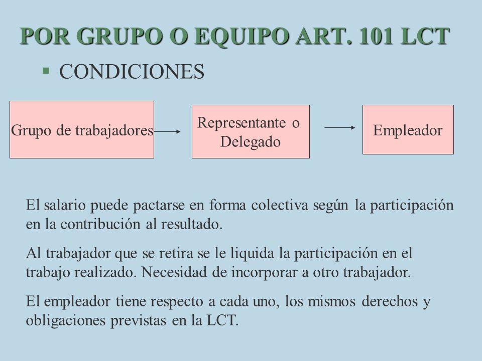 POR GRUPO O EQUIPO ART. 101 LCT