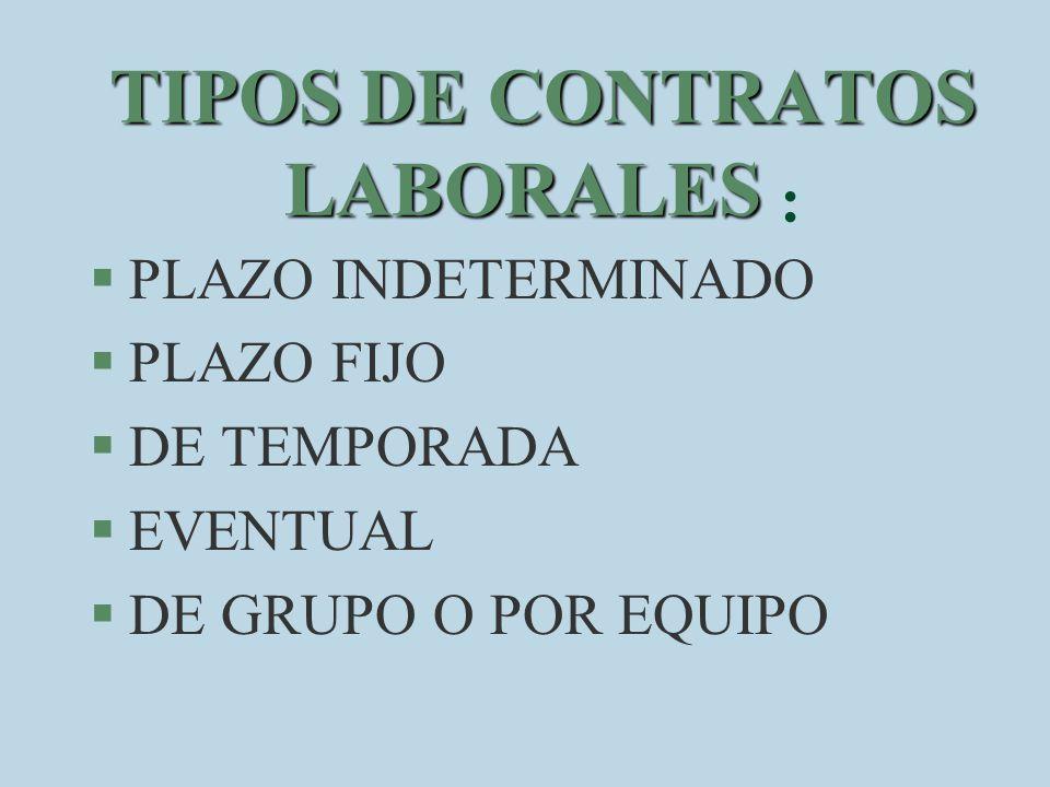 TIPOS DE CONTRATOS LABORALES :