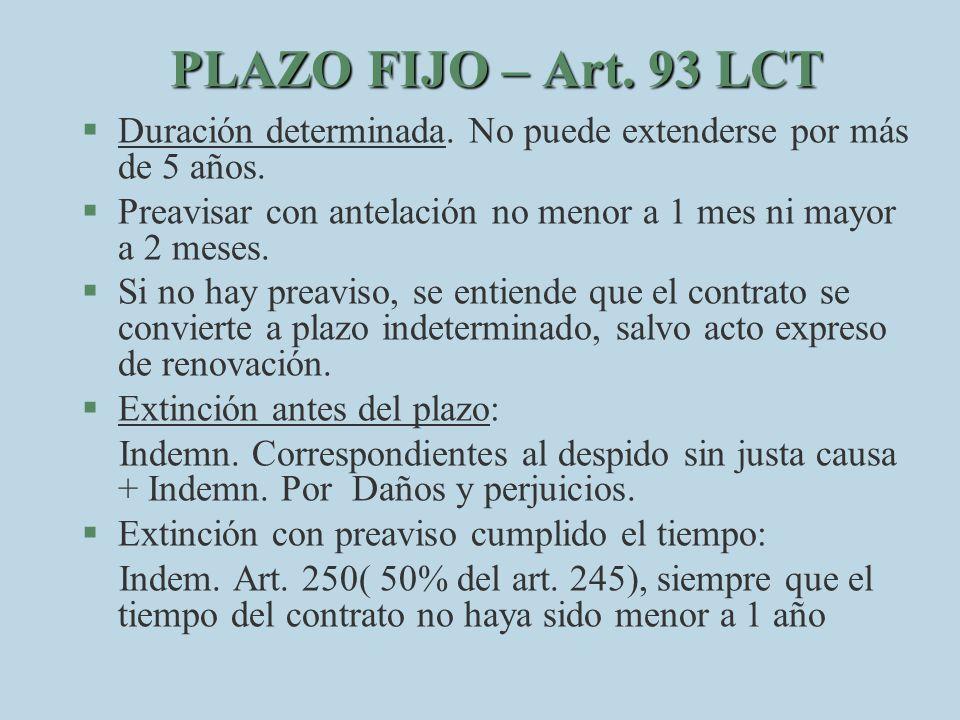 PLAZO FIJO – Art. 93 LCT Duración determinada. No puede extenderse por más de 5 años. Preavisar con antelación no menor a 1 mes ni mayor a 2 meses.