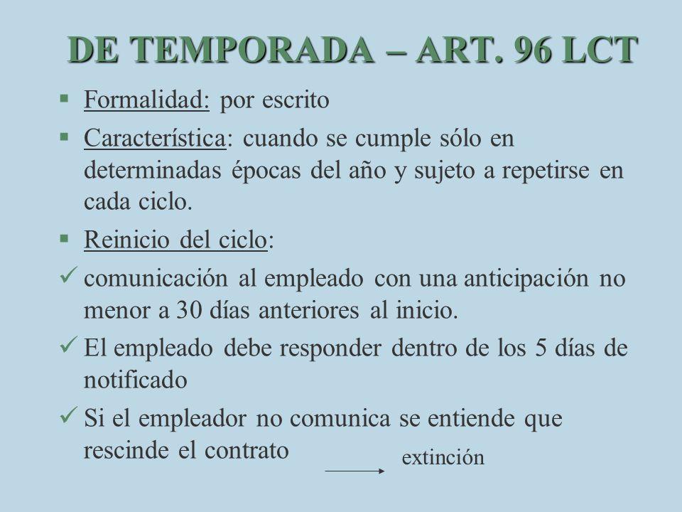 DE TEMPORADA – ART. 96 LCT Formalidad: por escrito
