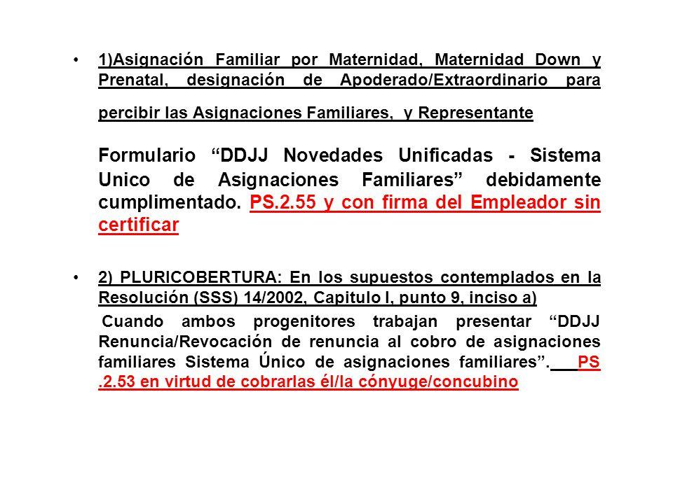 1)Asignación Familiar por Maternidad, Maternidad Down y Prenatal, designación de Apoderado/Extraordinario para percibir las Asignaciones Familiares, y Representante