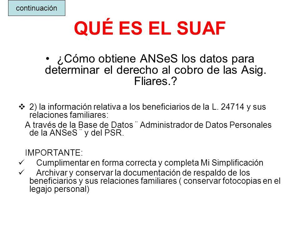 continuación QUÉ ES EL SUAF. ¿Cómo obtiene ANSeS los datos para determinar el derecho al cobro de las Asig. Fliares.