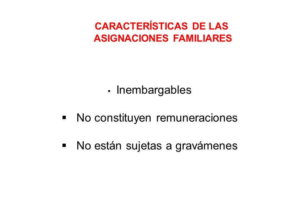 CARACTERÍSTICAS DE LAS ASIGNACIONES FAMILIARES