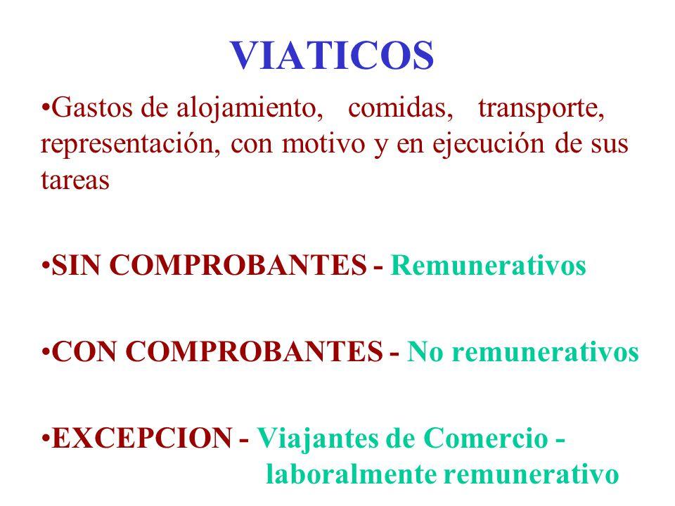 VIATICOS Gastos de alojamiento, comidas, transporte, representación, con motivo y en ejecución de sus tareas.