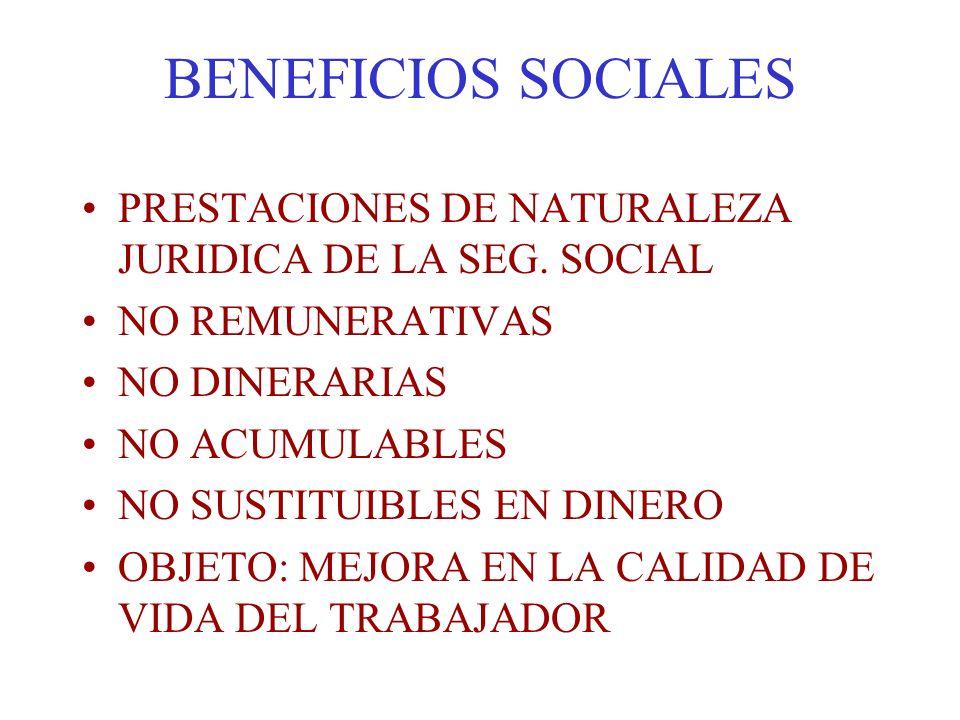 BENEFICIOS SOCIALES PRESTACIONES DE NATURALEZA JURIDICA DE LA SEG. SOCIAL. NO REMUNERATIVAS. NO DINERARIAS.