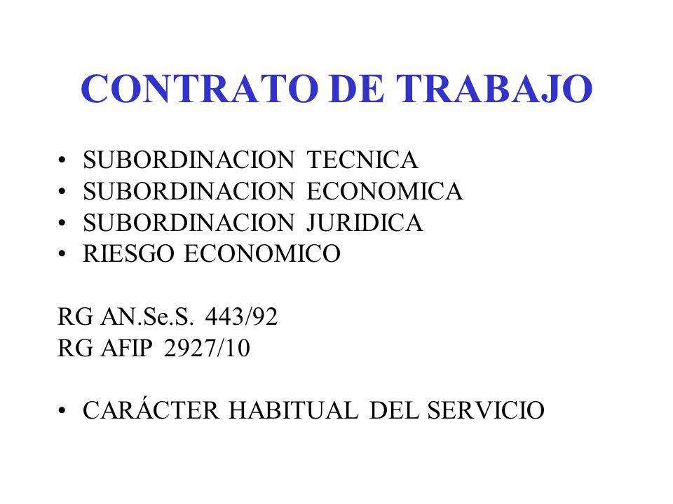 CONTRATO DE TRABAJO SUBORDINACION TECNICA SUBORDINACION ECONOMICA