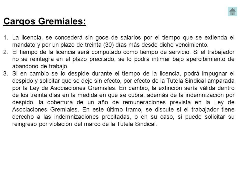 Cargos Gremiales: