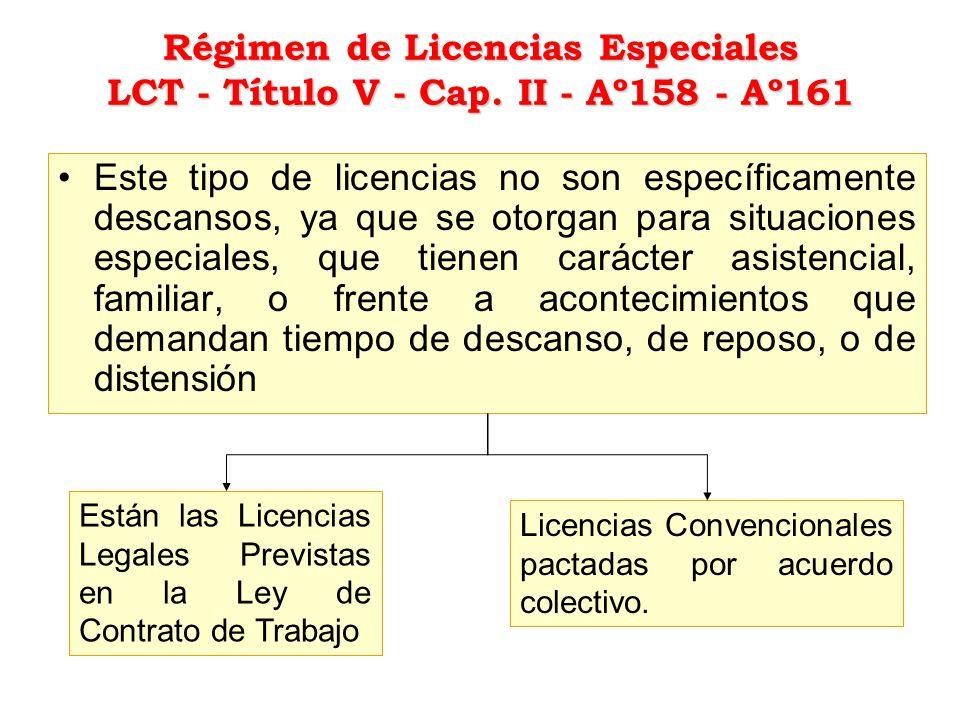 Régimen de Licencias Especiales LCT - Título V - Cap
