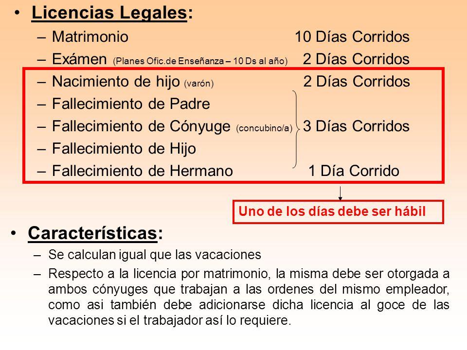 Licencias Legales: Características: Matrimonio 10 Días Corridos
