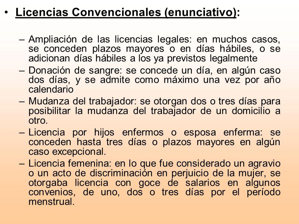 Licencias Convencionales (enunciativo):