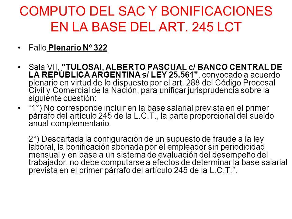 COMPUTO DEL SAC Y BONIFICACIONES EN LA BASE DEL ART. 245 LCT