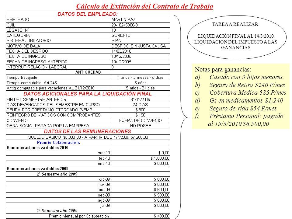 Cálculo de Extinción del Contrato de Trabajo