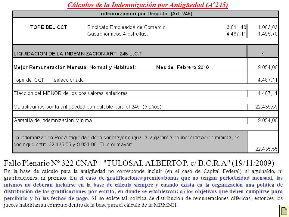 Cálculos de la Indemnización por Antigüedad (Aº245)