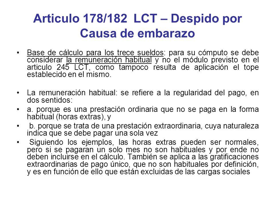Articulo 178/182 LCT – Despido por Causa de embarazo