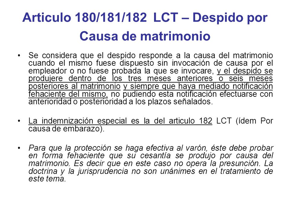 Articulo 180/181/182 LCT – Despido por Causa de matrimonio