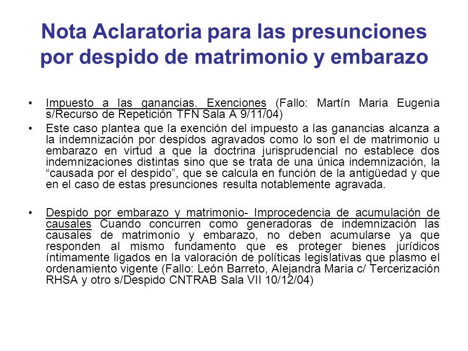 Nota Aclaratoria para las presunciones por despido de matrimonio y embarazo
