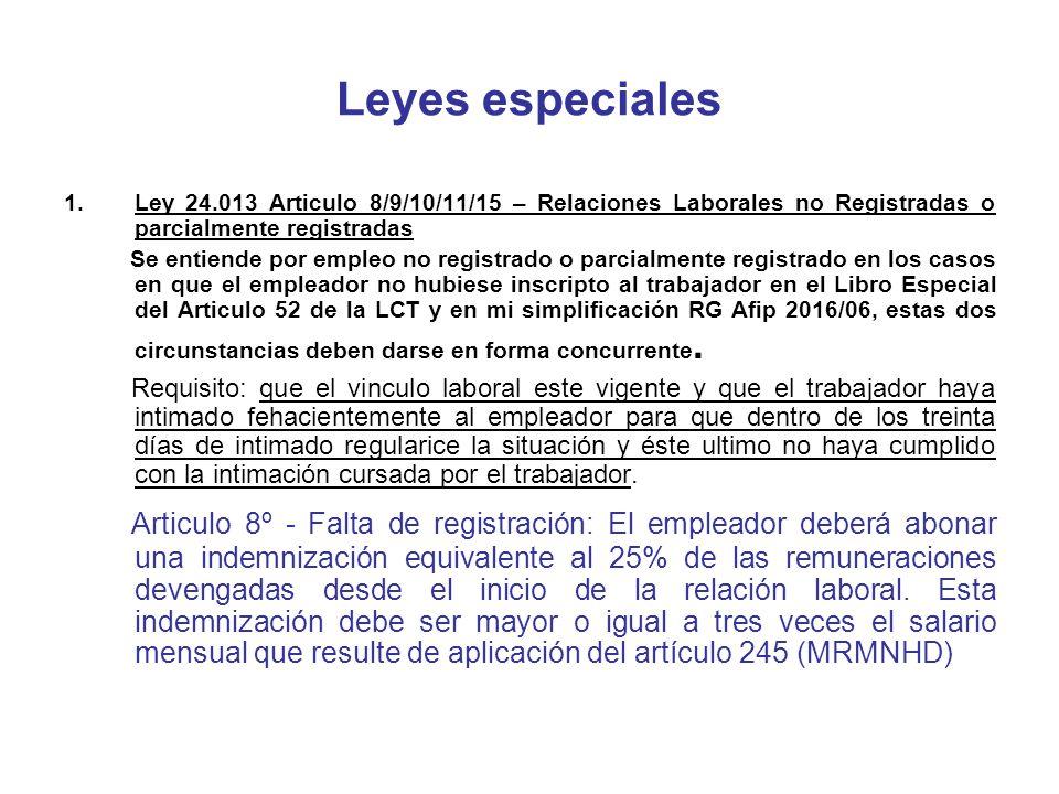 Leyes especiales Ley 24.013 Articulo 8/9/10/11/15 – Relaciones Laborales no Registradas o parcialmente registradas.