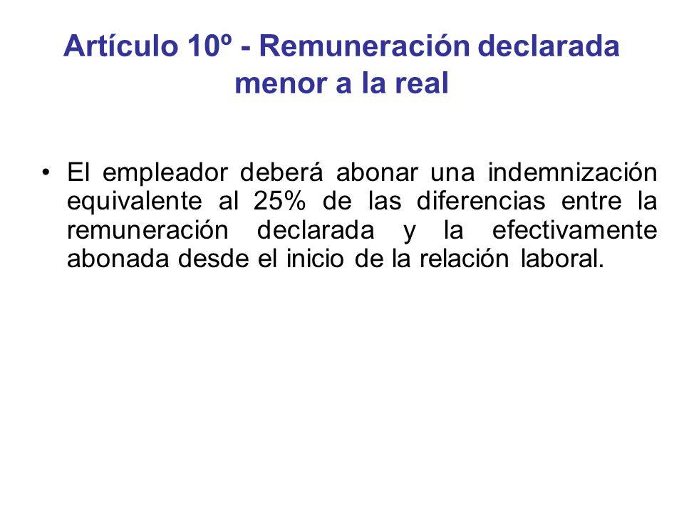 Artículo 10º - Remuneración declarada menor a la real