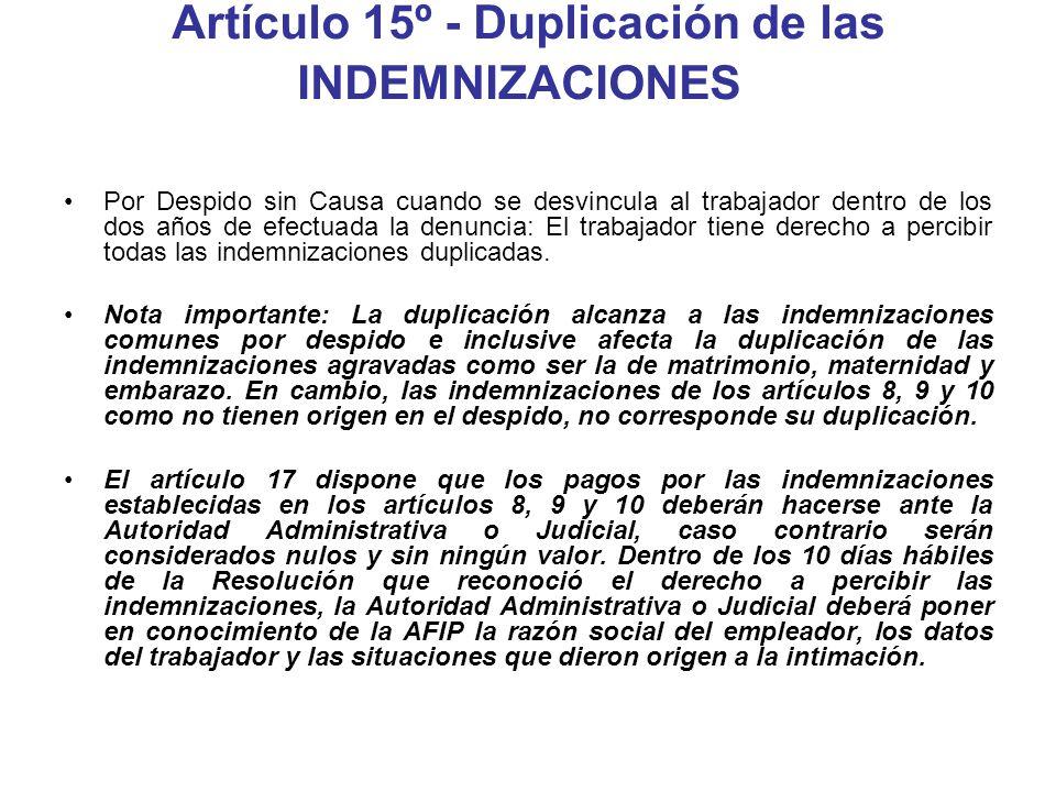 Artículo 15º - Duplicación de las INDEMNIZACIONES