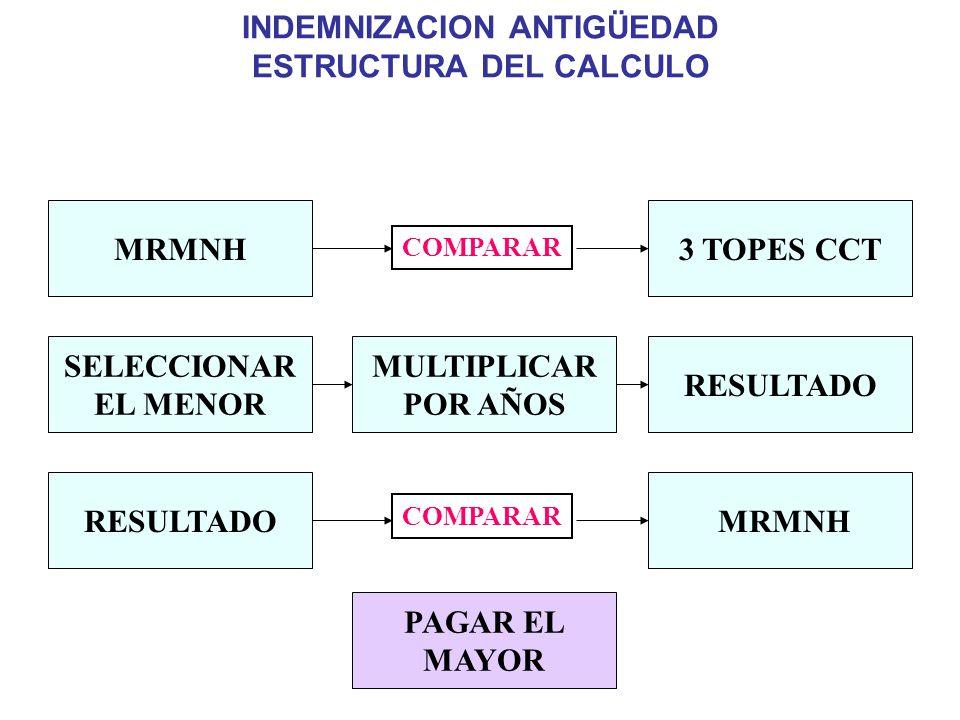 INDEMNIZACION ANTIGÜEDAD ESTRUCTURA DEL CALCULO