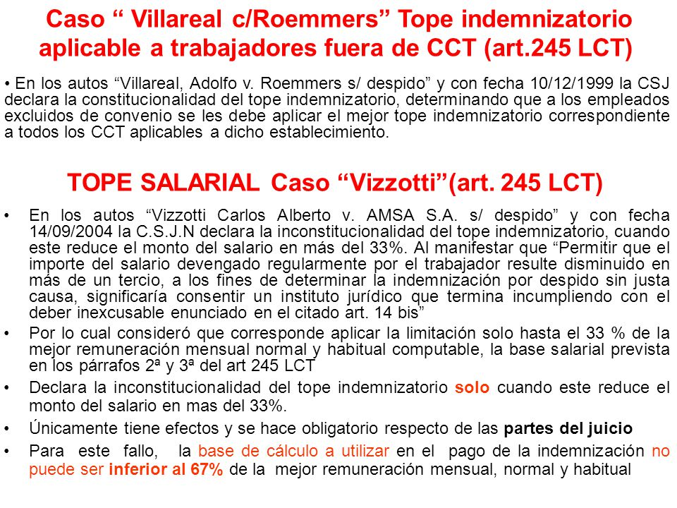 TOPE SALARIAL Caso Vizzotti (art. 245 LCT)