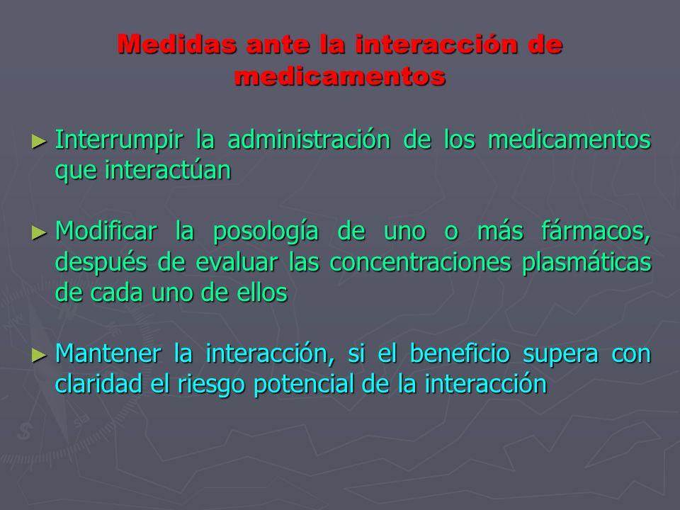 Medidas ante la interacción de medicamentos