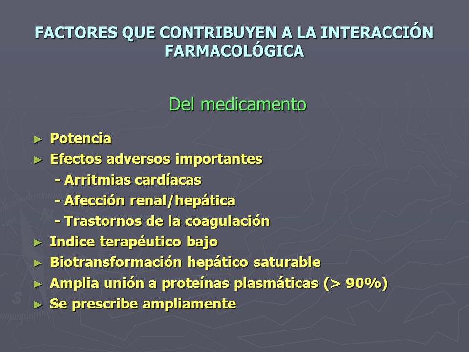 FACTORES QUE CONTRIBUYEN A LA INTERACCIÓN FARMACOLÓGICA
