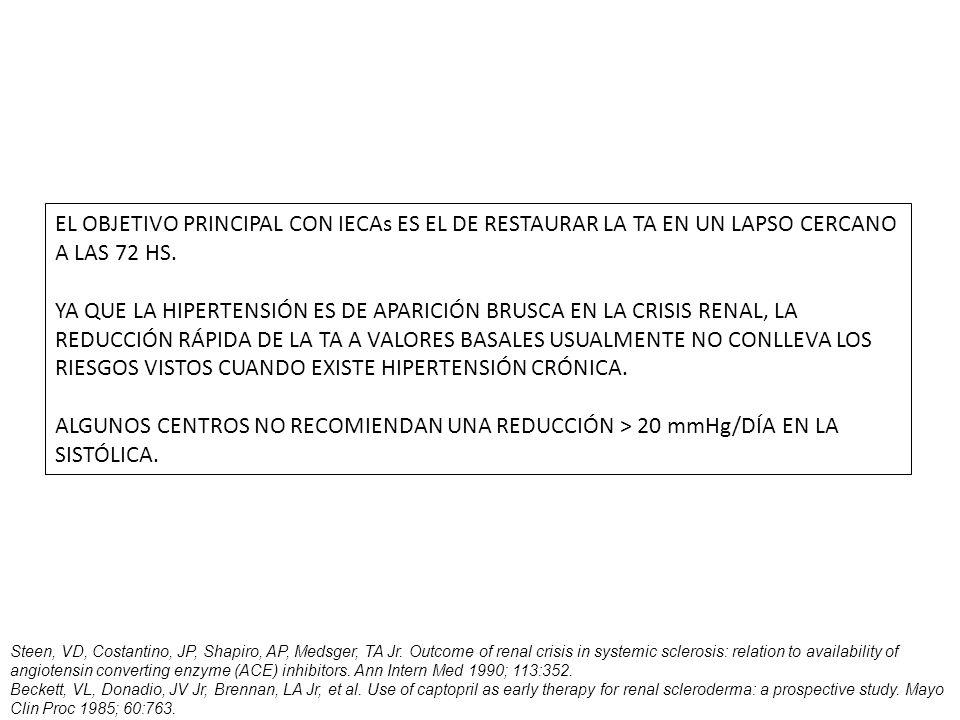 EL OBJETIVO PRINCIPAL CON IECAs ES EL DE RESTAURAR LA TA EN UN LAPSO CERCANO A LAS 72 HS.