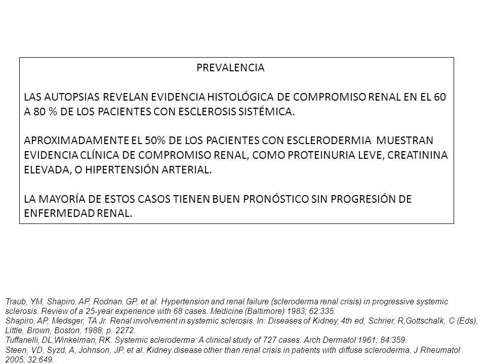 PREVALENCIA LAS AUTOPSIAS REVELAN EVIDENCIA HISTOLÓGICA DE COMPROMISO RENAL EN EL 60 A 80 % DE LOS PACIENTES CON ESCLEROSIS SISTÉMICA.