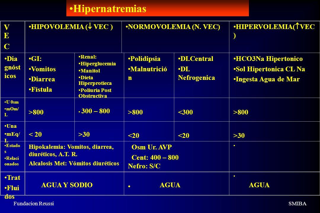 Hipernatremias V E C HIPOVOLEMIA ( VEC ) NORMOVOLEMIA (N. VEC)
