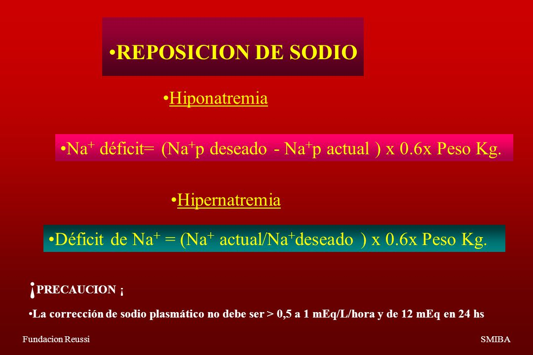 ¡PRECAUCION ¡ REPOSICION DE SODIO Hiponatremia