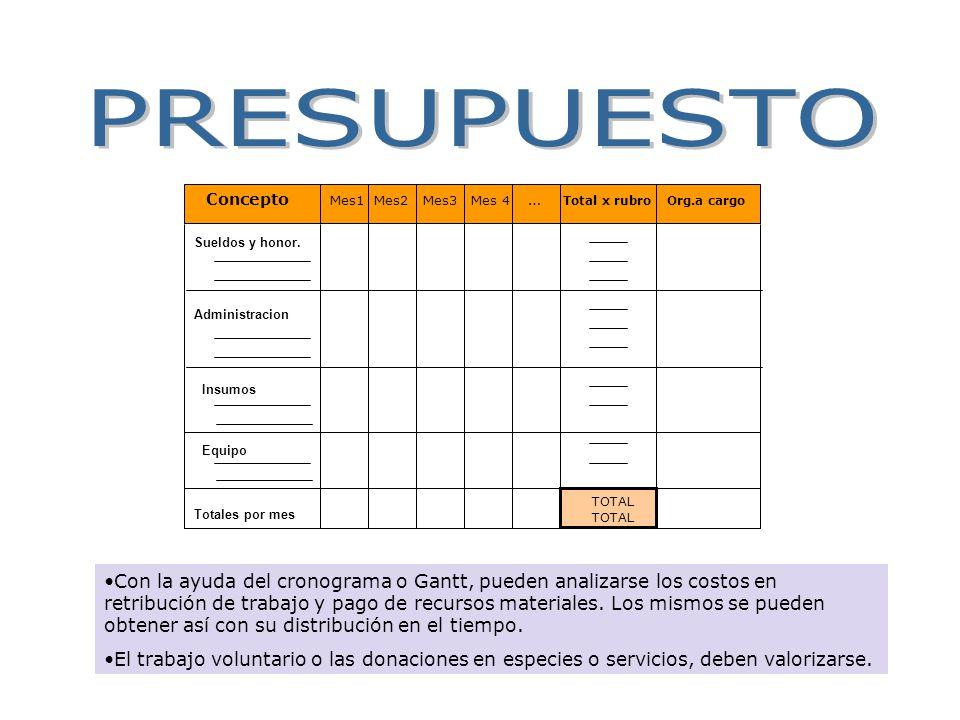 PRESUPUESTO Concepto. Mes1 Mes2 Mes3 Mes 4 … Total x rubro Org.a cargo. Sueldos y honor.