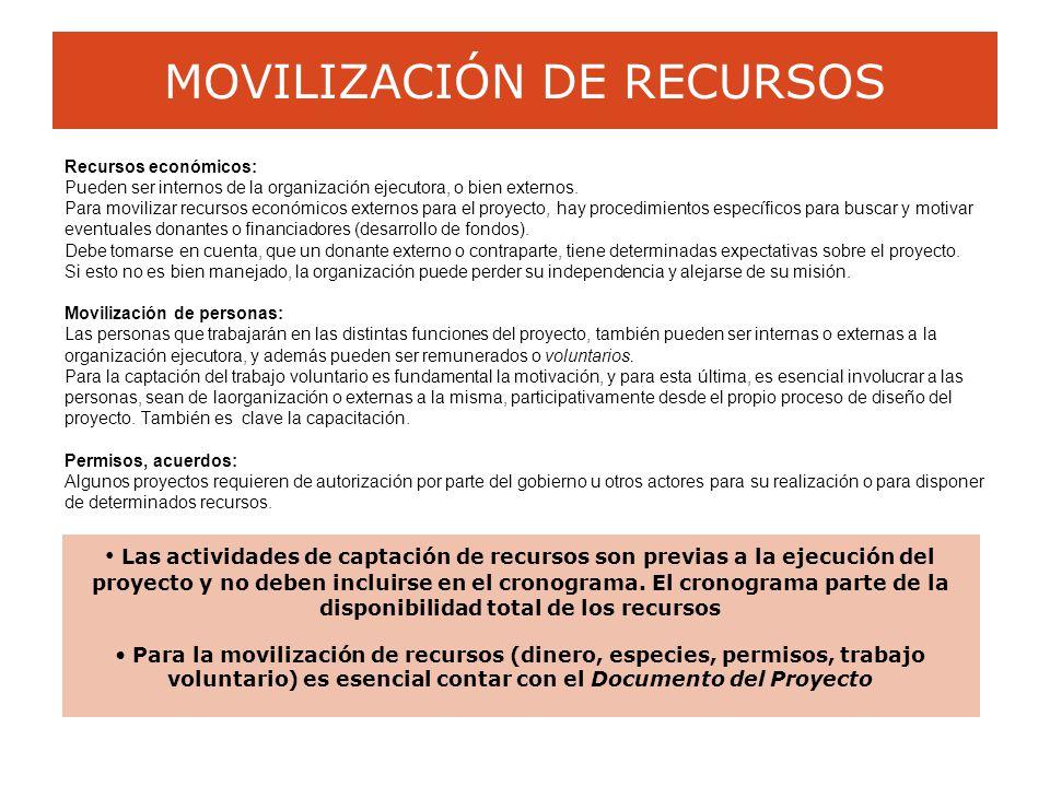 MOVILIZACIÓN DE RECURSOS