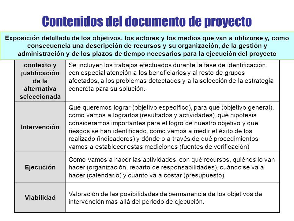 Contenidos del documento de proyecto
