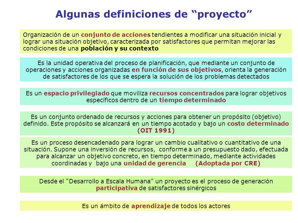 Algunas definiciones de proyecto