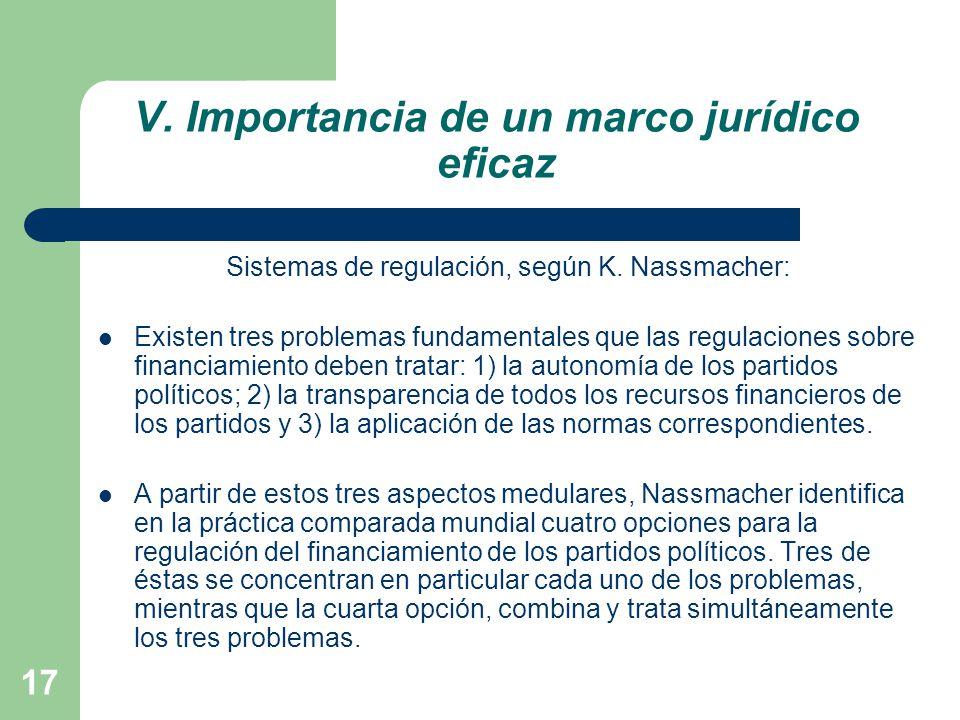 V. Importancia de un marco jurídico eficaz