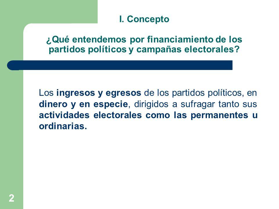 I. Concepto ¿Qué entendemos por financiamiento de los partidos políticos y campañas electorales
