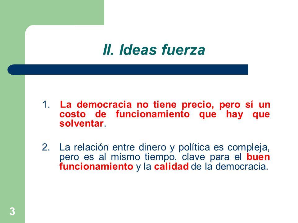 II. Ideas fuerza 1. La democracia no tiene precio, pero sí un costo de funcionamiento que hay que solventar.