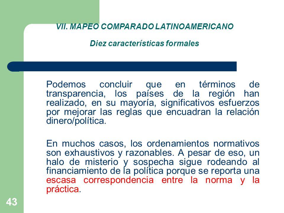 VII. MAPEO COMPARADO LATINOAMERICANO Diez características formales