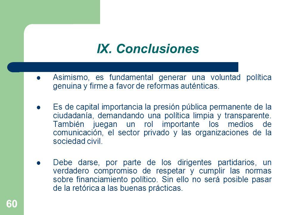IX. Conclusiones Asimismo, es fundamental generar una voluntad política genuina y firme a favor de reformas auténticas.