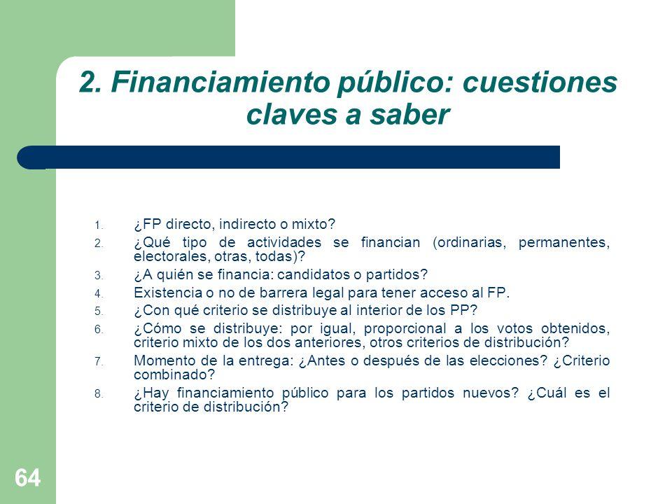 2. Financiamiento público: cuestiones claves a saber