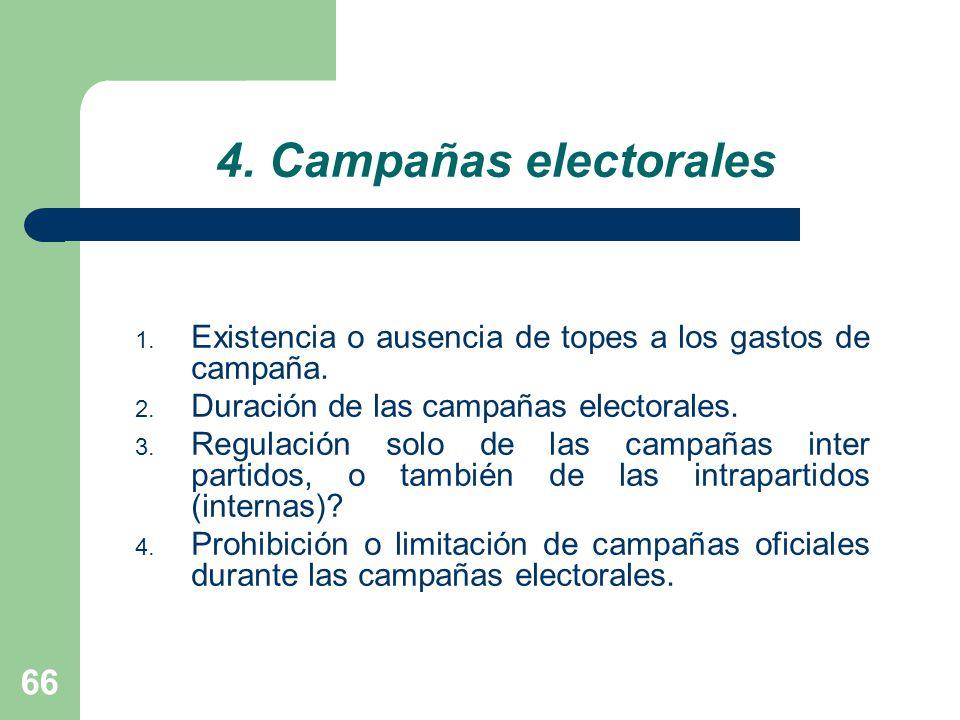 4. Campañas electorales Existencia o ausencia de topes a los gastos de campaña. Duración de las campañas electorales.
