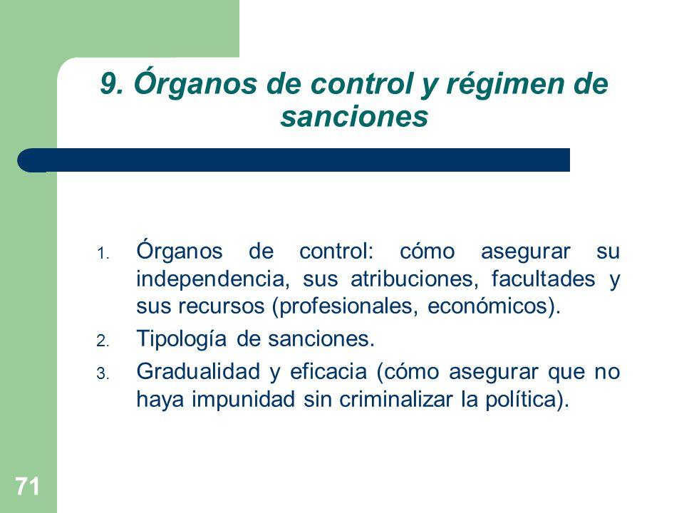 9. Órganos de control y régimen de sanciones