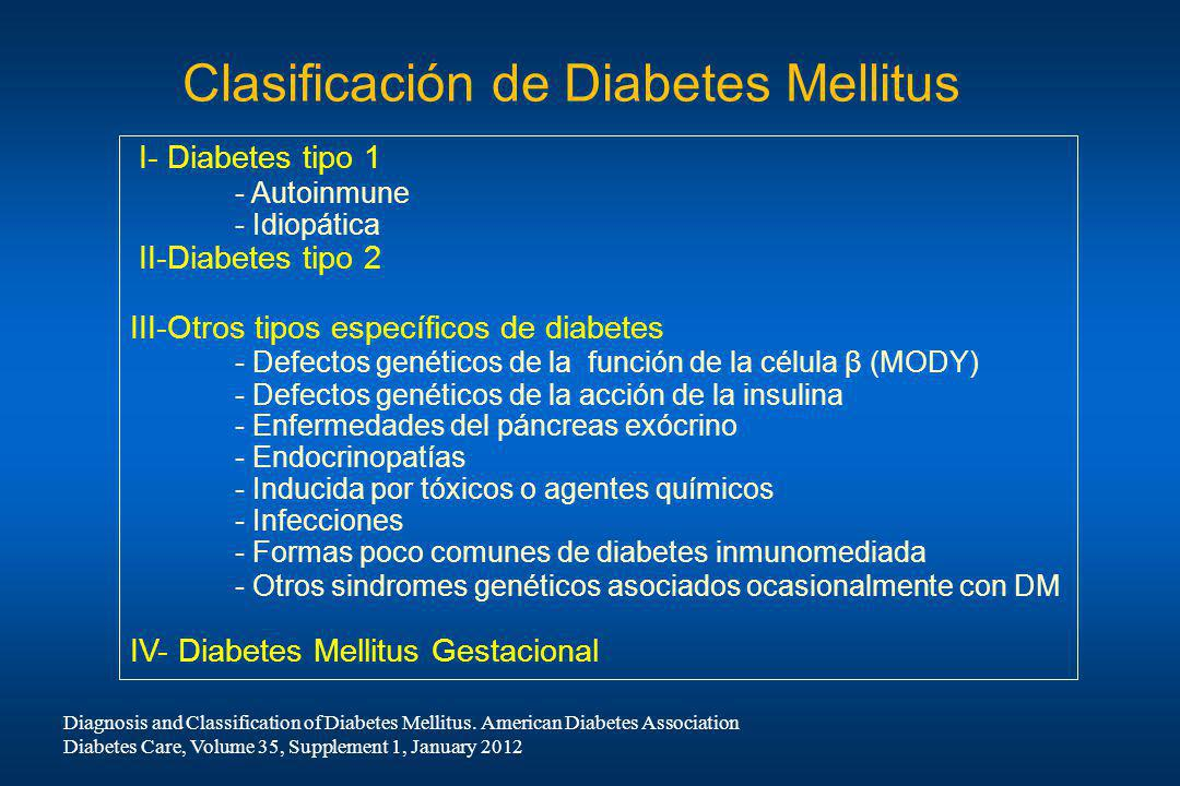 Clasificación de Diabetes Mellitus