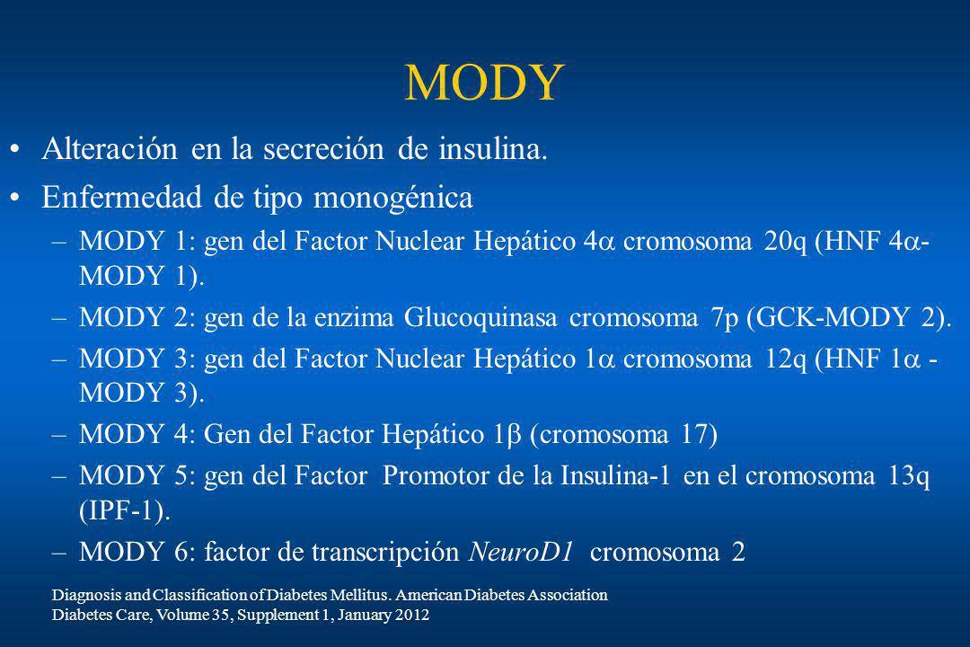 MODY Alteración en la secreción de insulina.