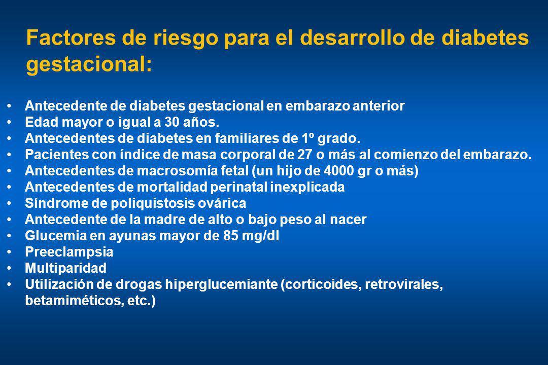 Factores de riesgo para el desarrollo de diabetes gestacional: