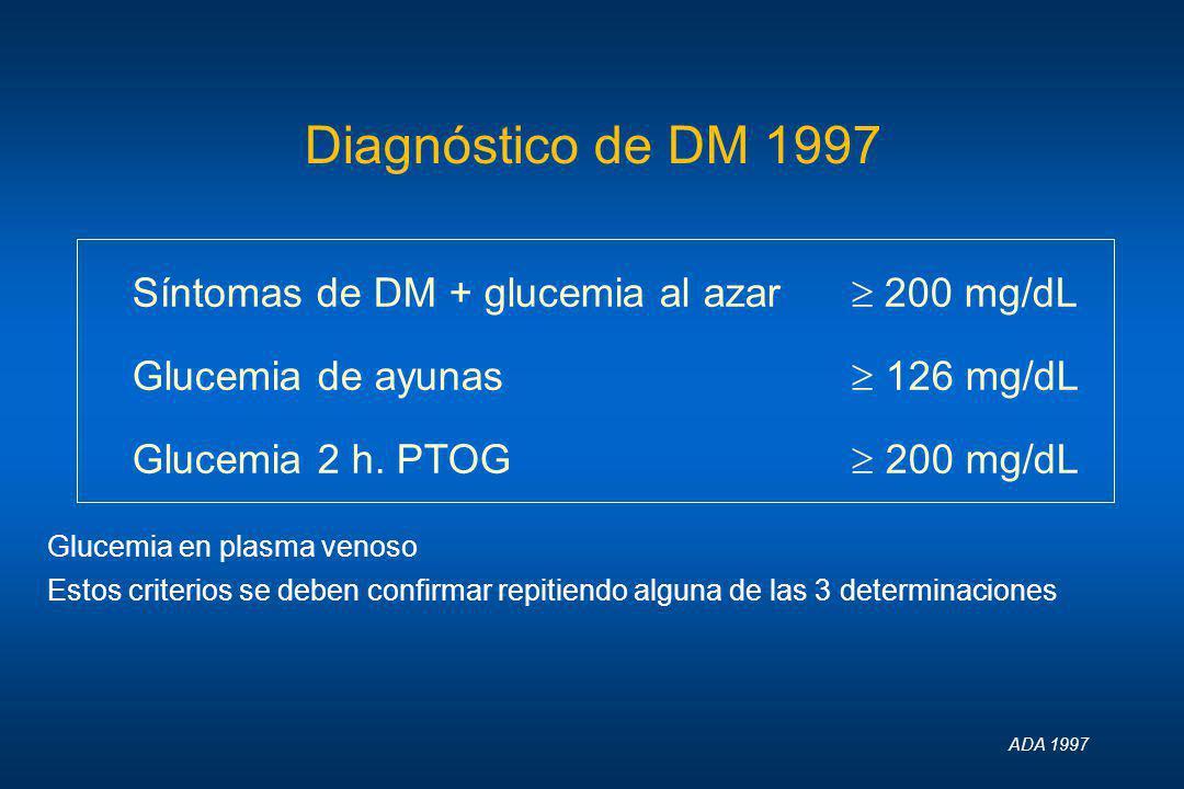 Diagnóstico de DM 1997 Síntomas de DM + glucemia al azar  200 mg/dL