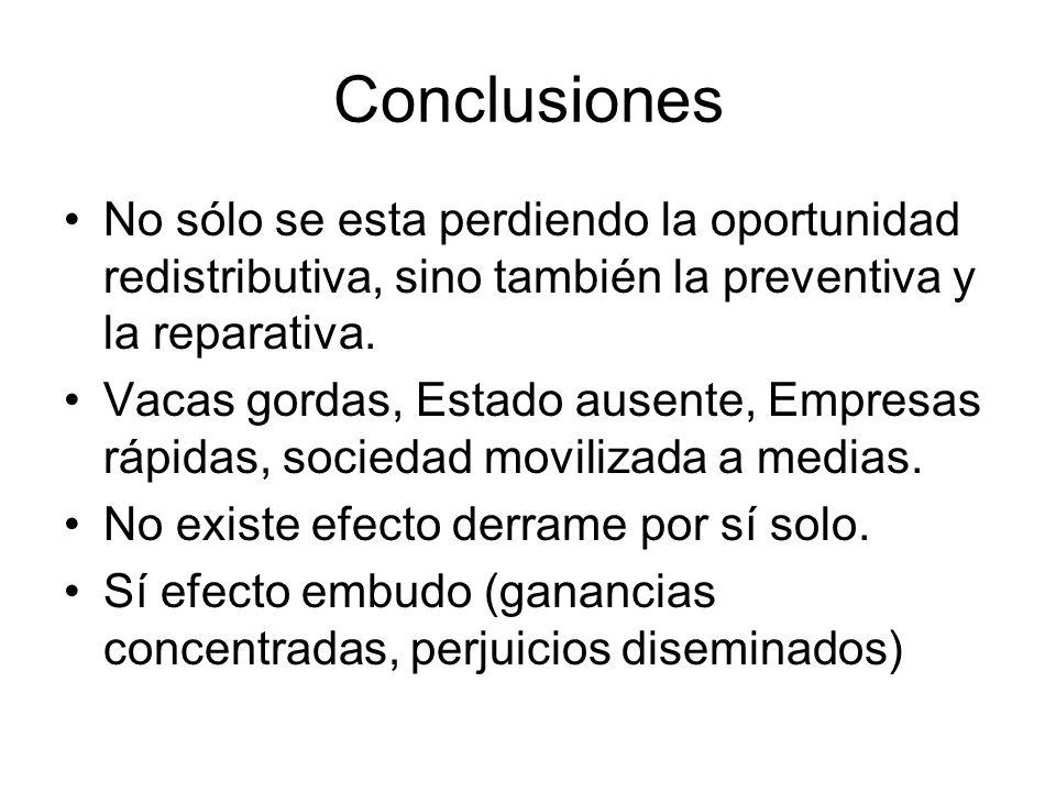 Conclusiones No sólo se esta perdiendo la oportunidad redistributiva, sino también la preventiva y la reparativa.