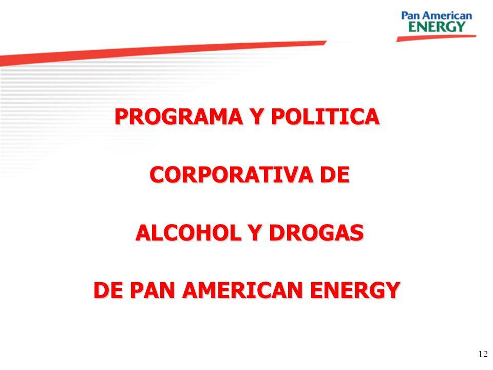 PROGRAMA Y POLITICA CORPORATIVA DE ALCOHOL Y DROGAS DE PAN AMERICAN ENERGY